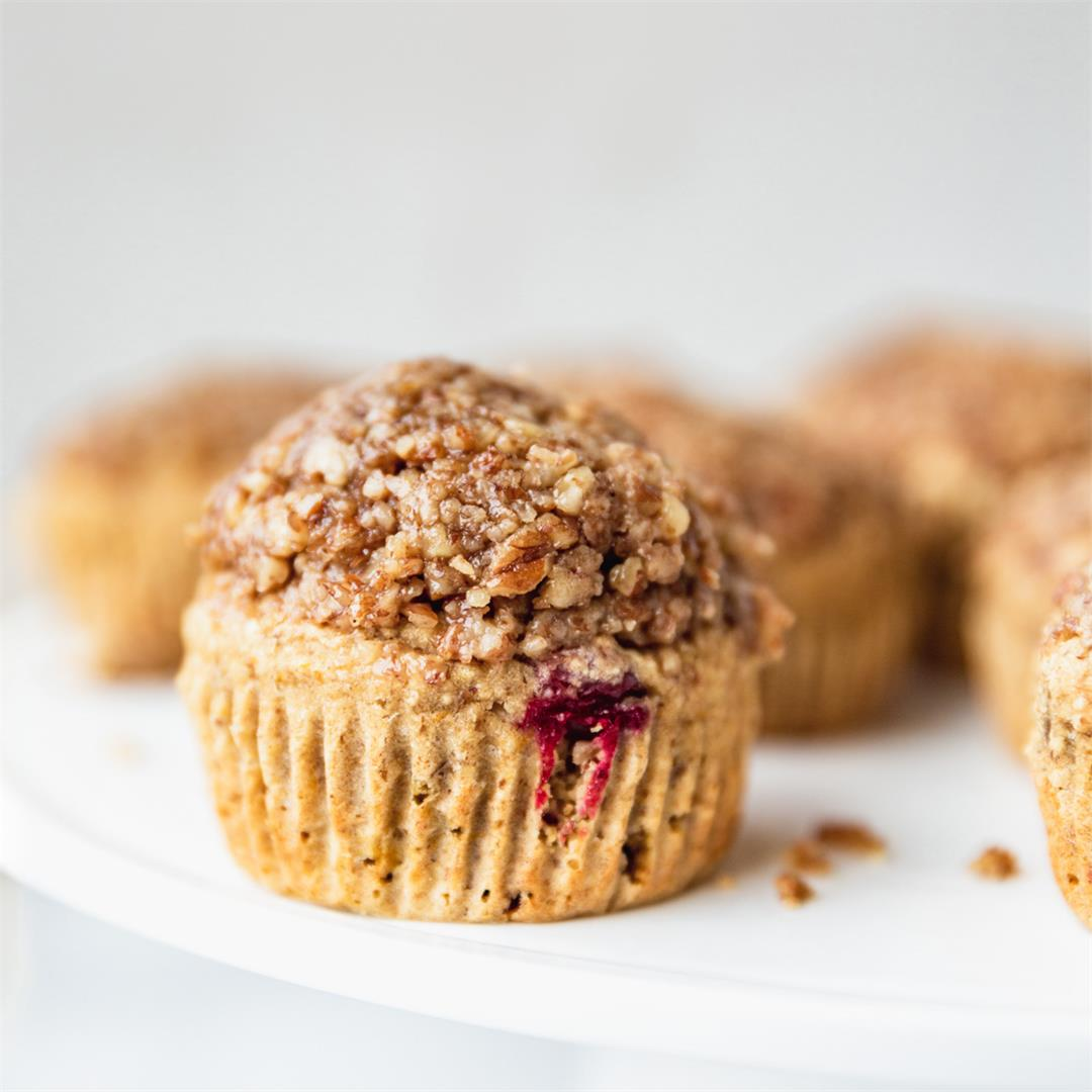 Cranberry Orange Muffins with Maple Pecan Topping