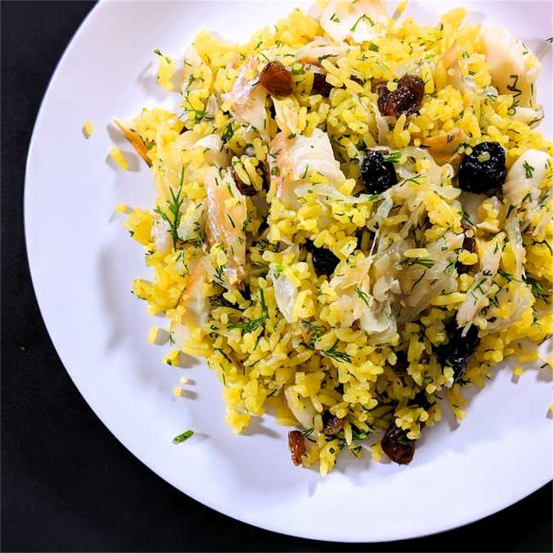 Rice pilaf with smoked fish