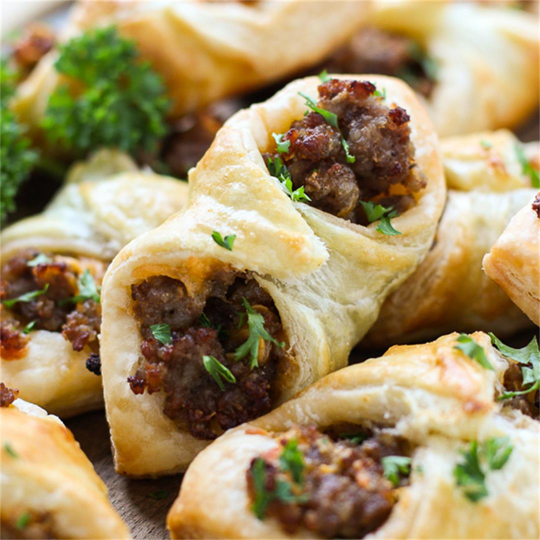 Sausage and Cheese Puff Pastry Pockets