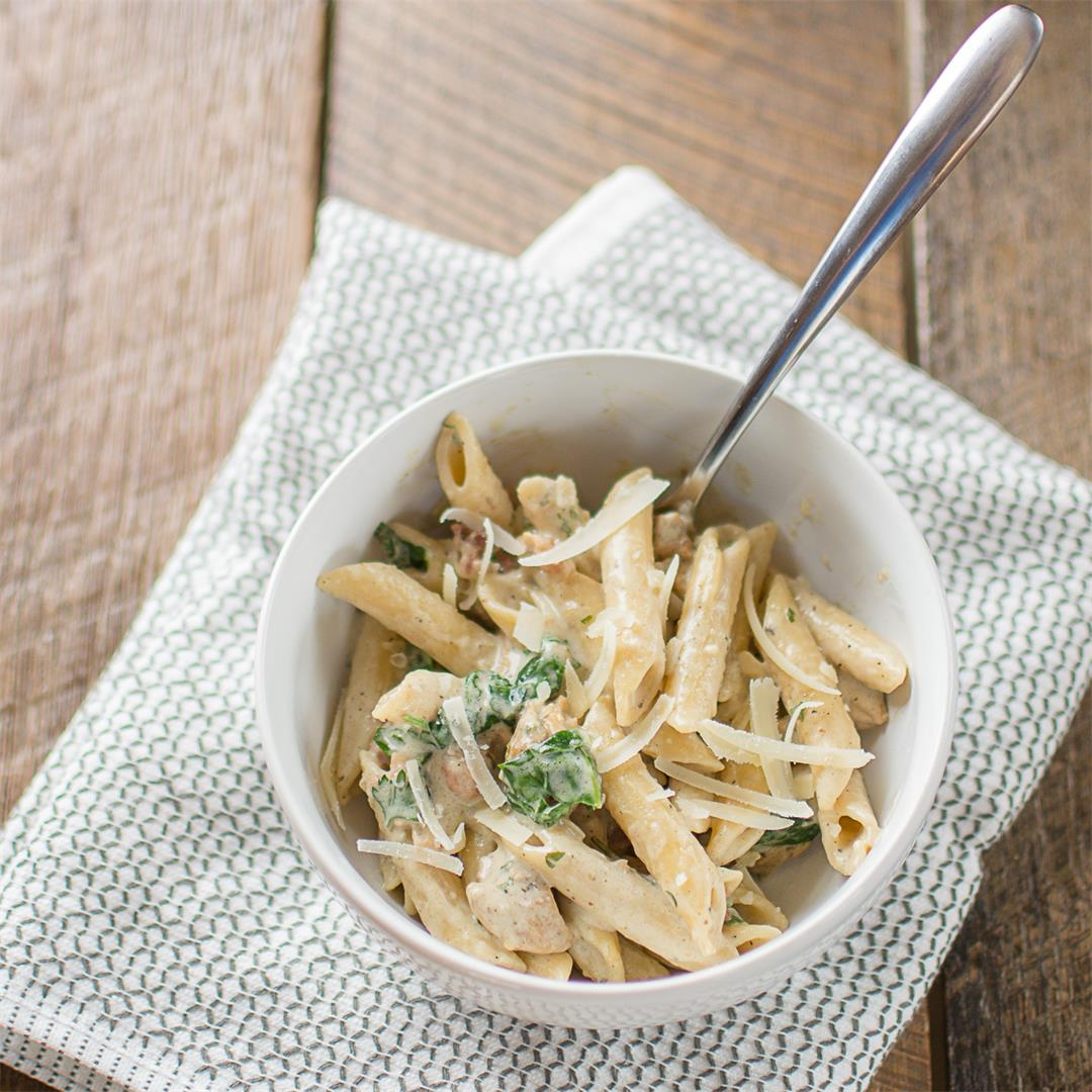 One Pot Chicken Bacon Spinach Pasta