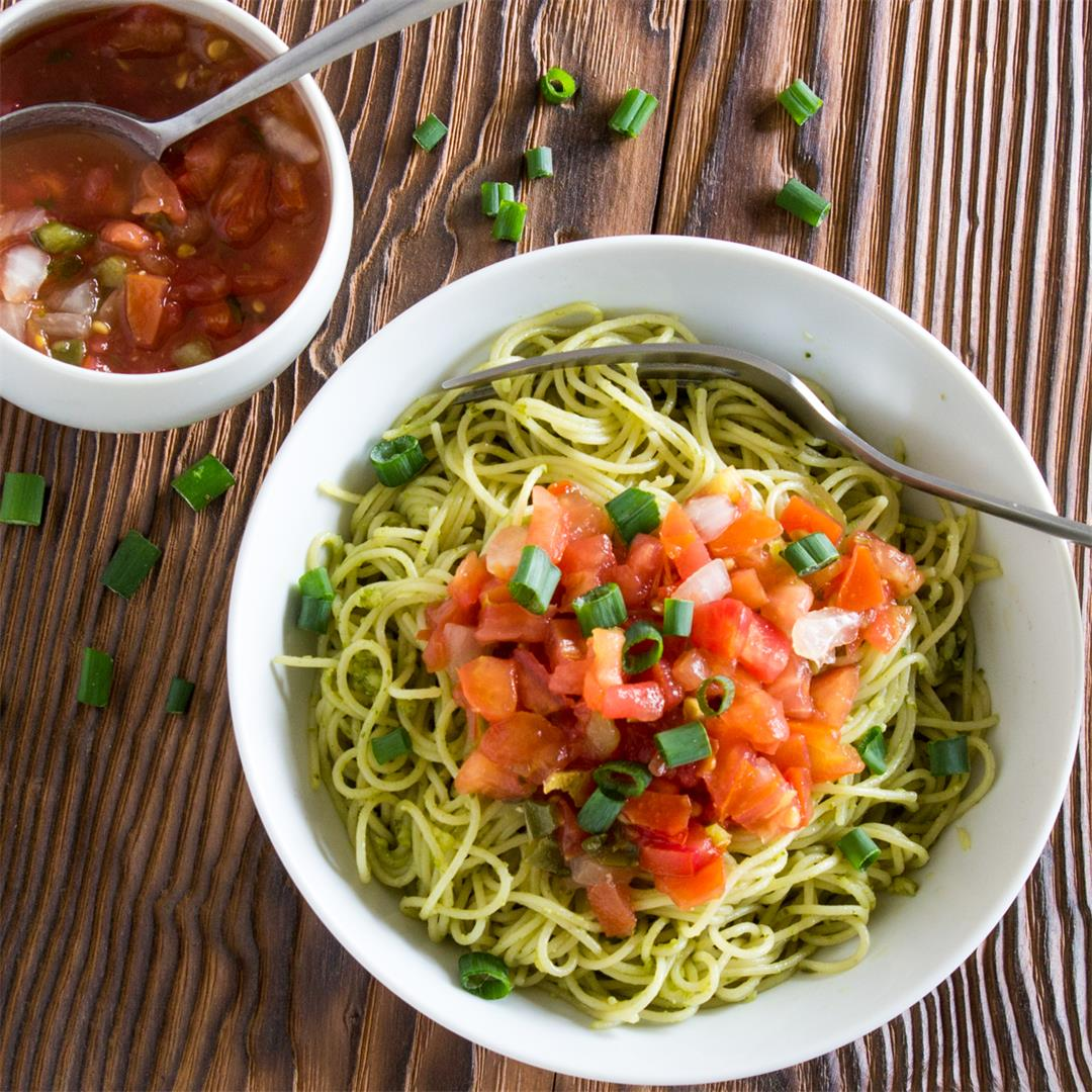 Angel Hair Pasta, basil pesto and chili salsa is quick and easy