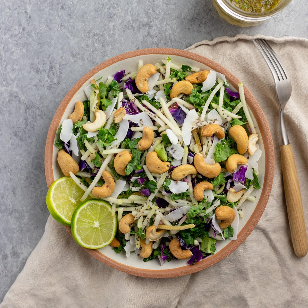 Cashew Coconut Slaw with Cilantro-Lime Vinaigrette