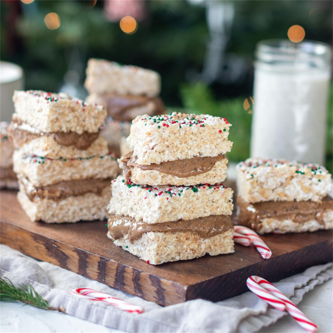 Chocolate Almond Butter Stuffed Rice Krispie Treats