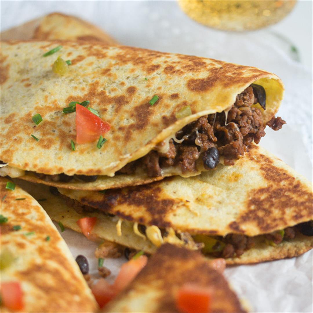 Black Bean Quesadillas Recipe with Ground Beef and Avocado
