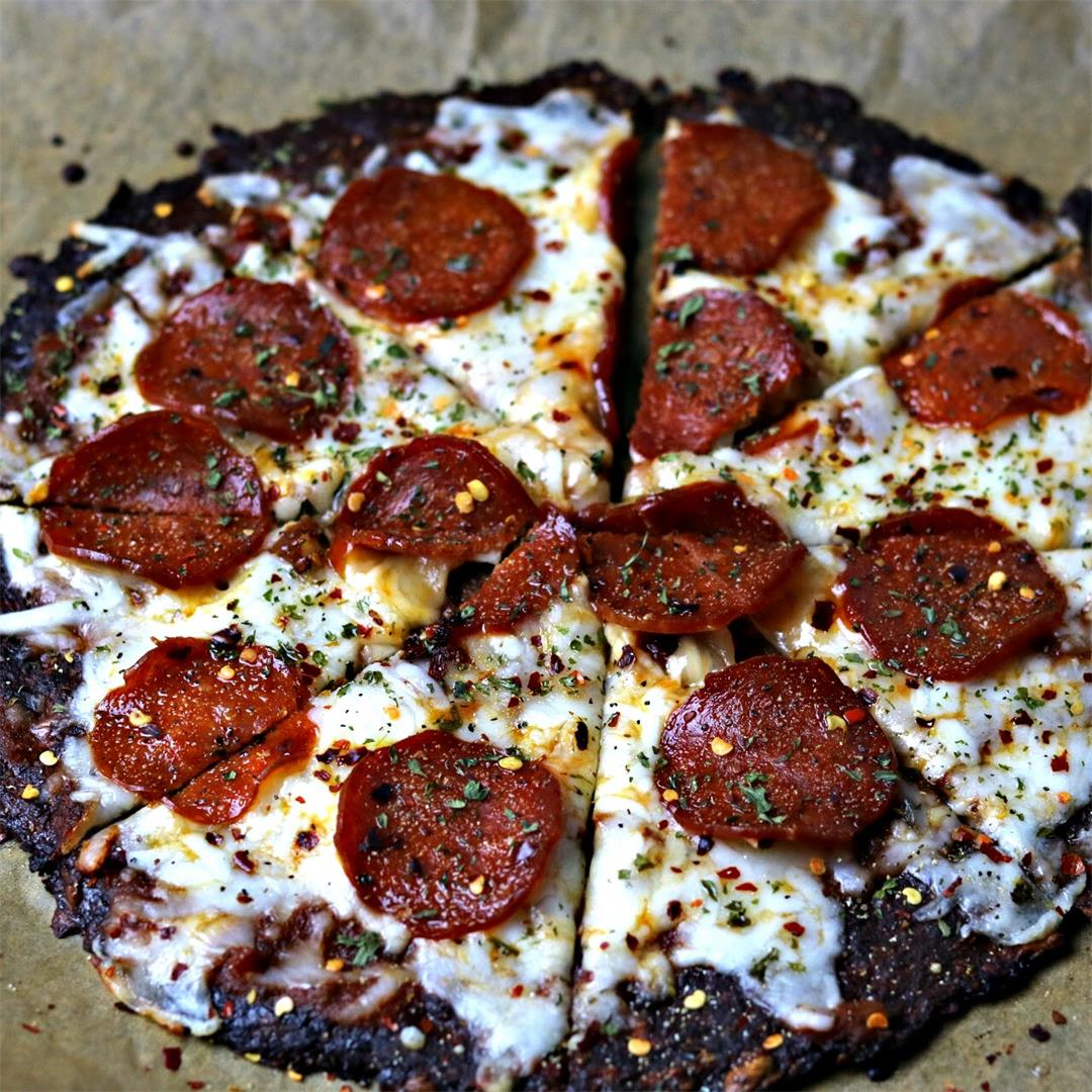 Keto Pepperoni Cauliflower Crust Pizza