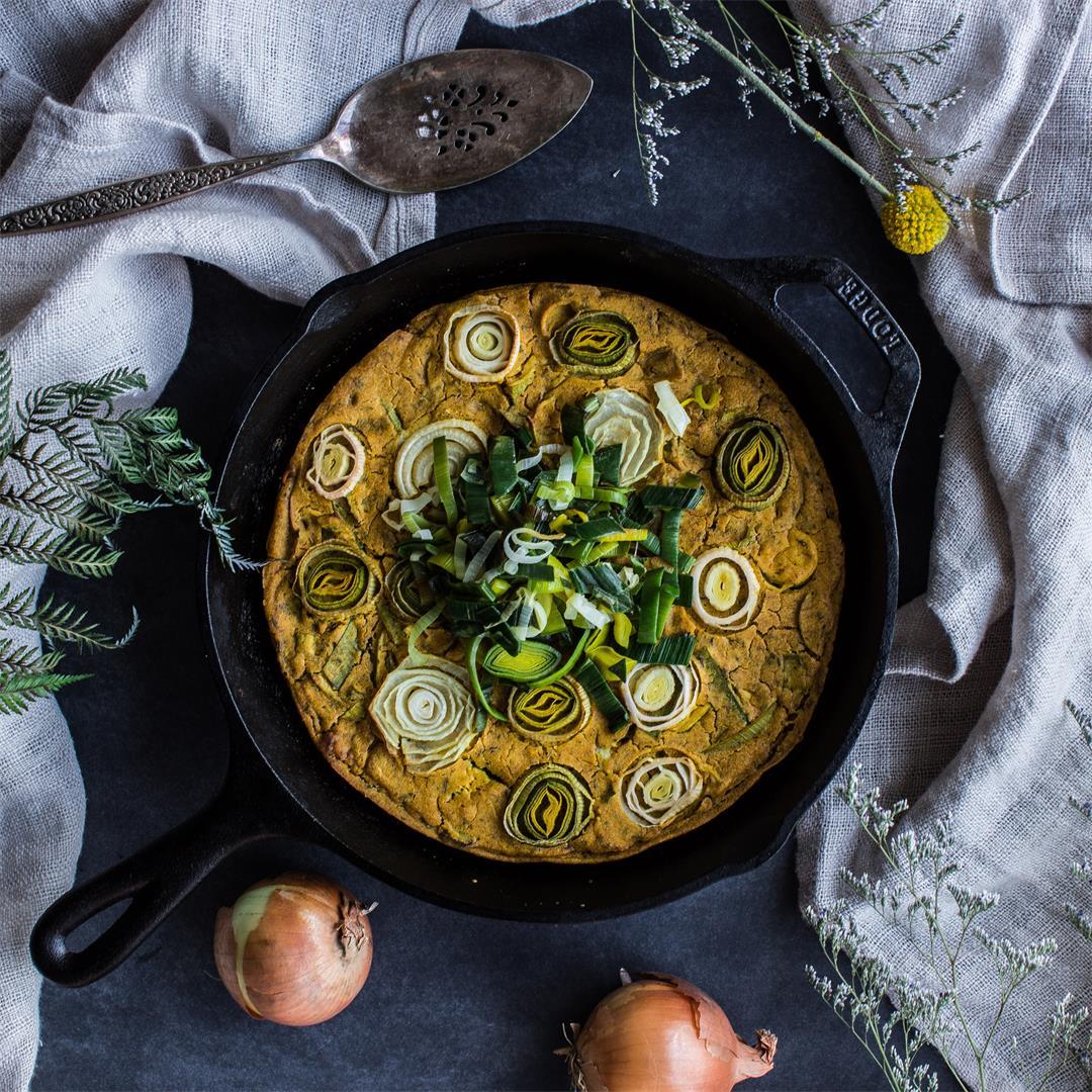 Vegan Leek & Onion Frittata (gluten-free)