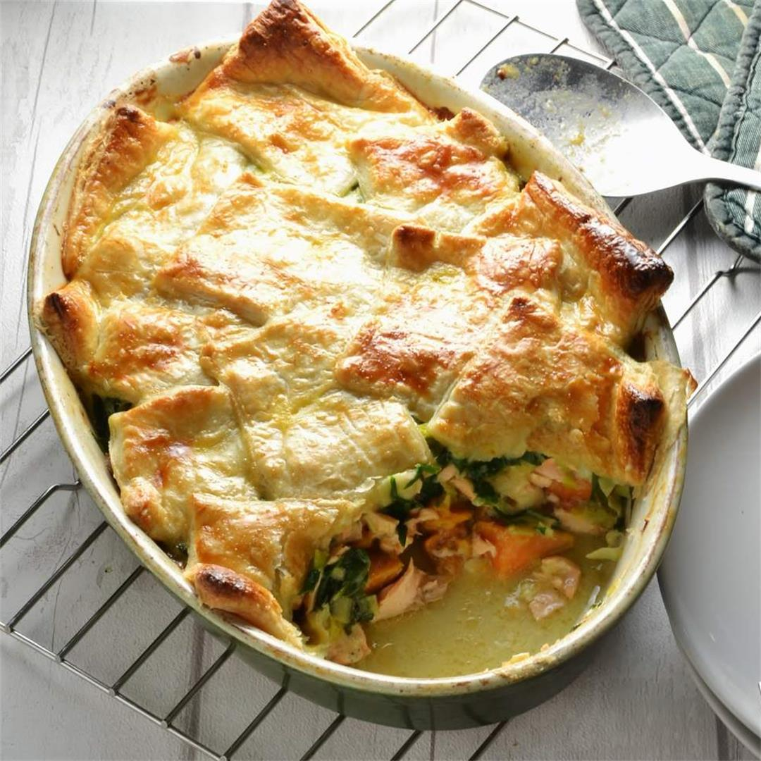 Salmon Pot Pie with Leek, Spinach & Sweet Potato (Puff Pastry)