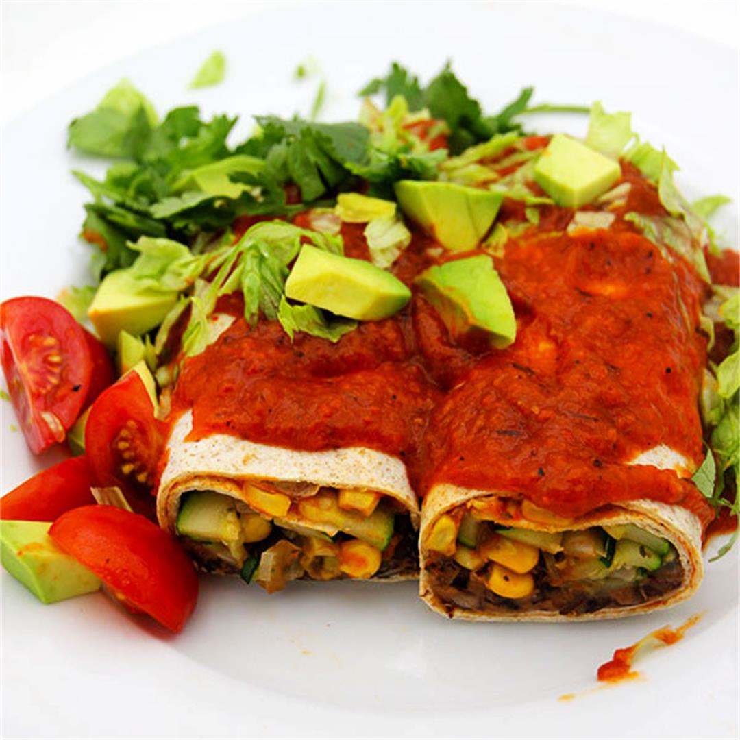 Black bean burritos & red pepper sauce