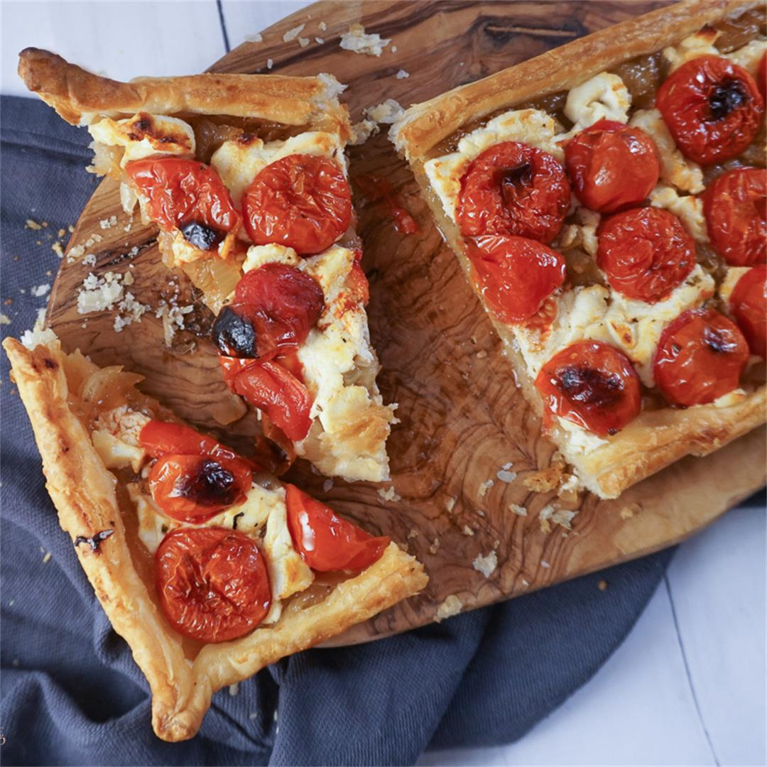 Caramelized Onion, Goat Cheese and Roasted Cherry Tomato Tart.