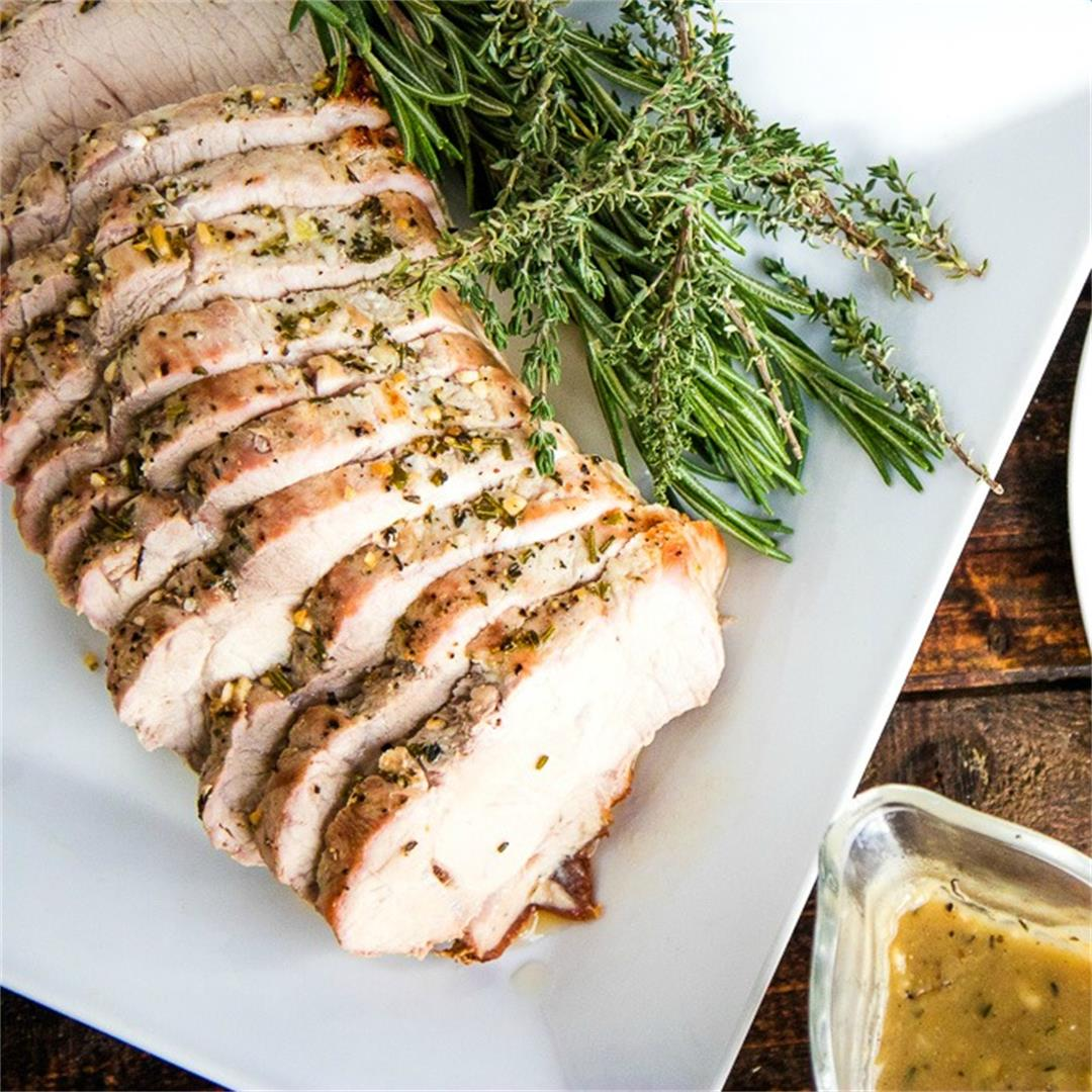 Herb Roasted Pork Loin & Onion Gravy
