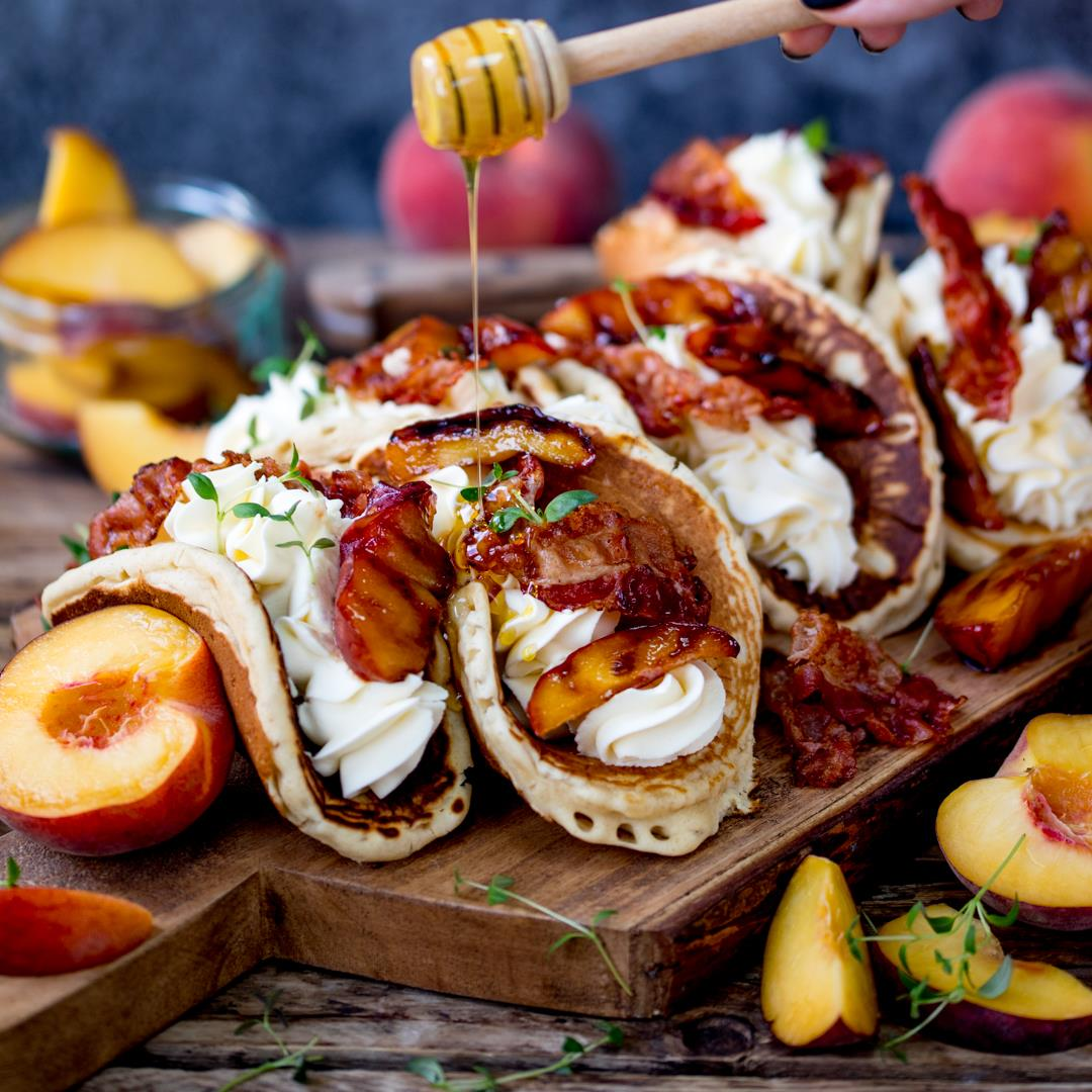 Pancake tacos with peaches and pancetta