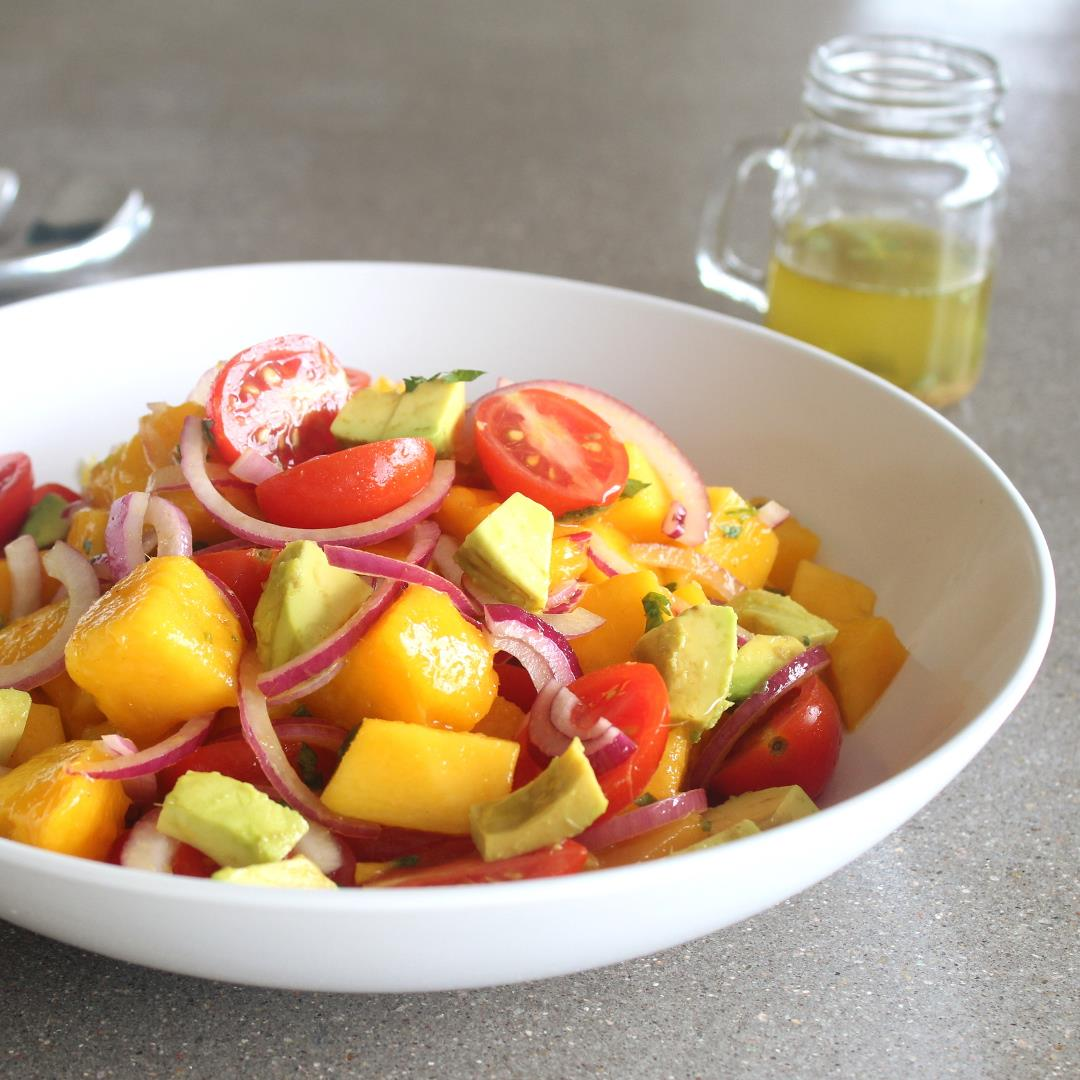 Summer Fiesta Mango Avocado Red Onion Salad