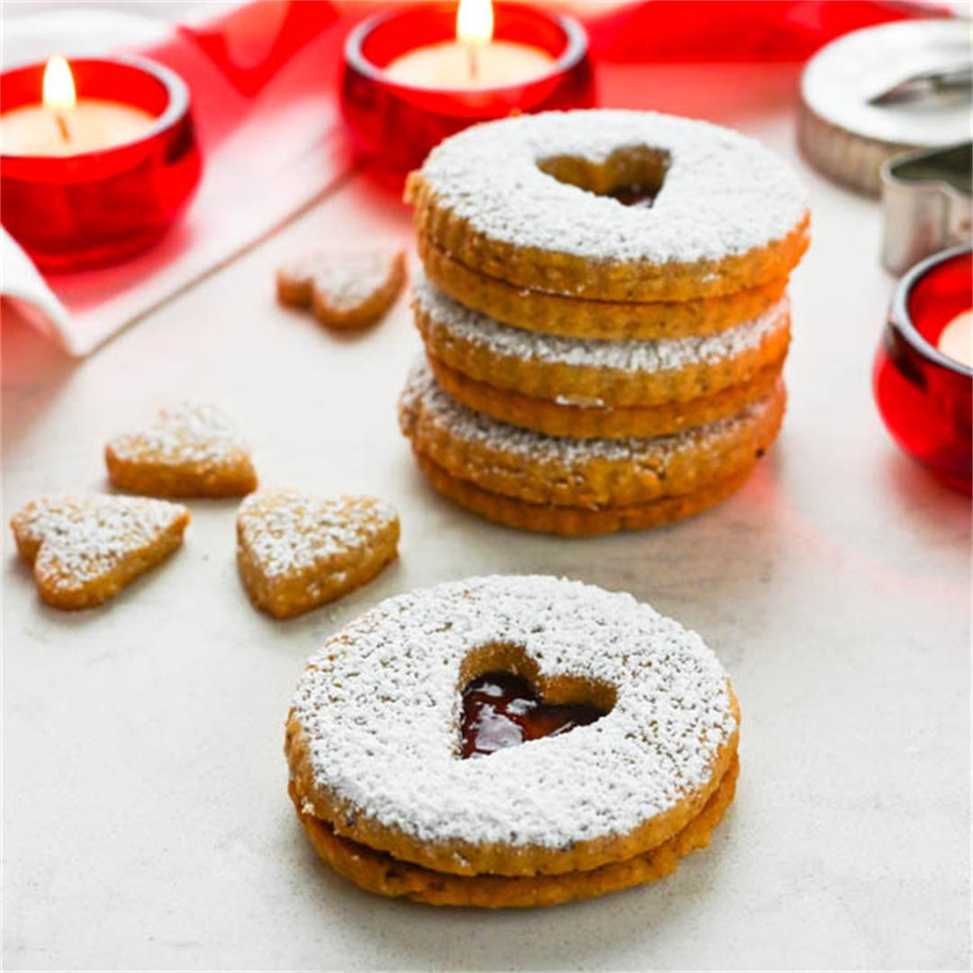 Hazelnut Shortbread Cookies with Jam
