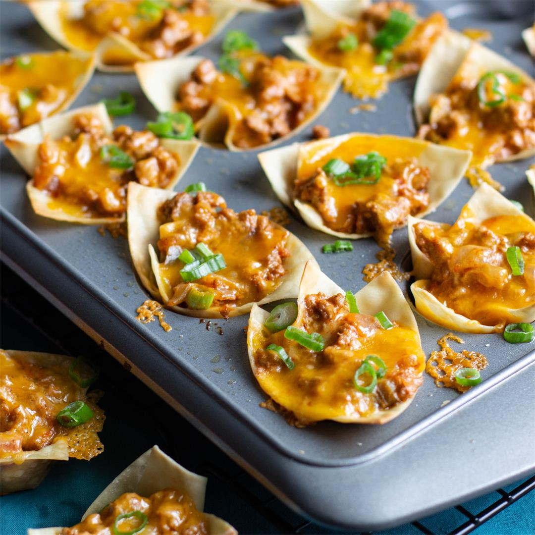 Turkey Taco Wonton Cups