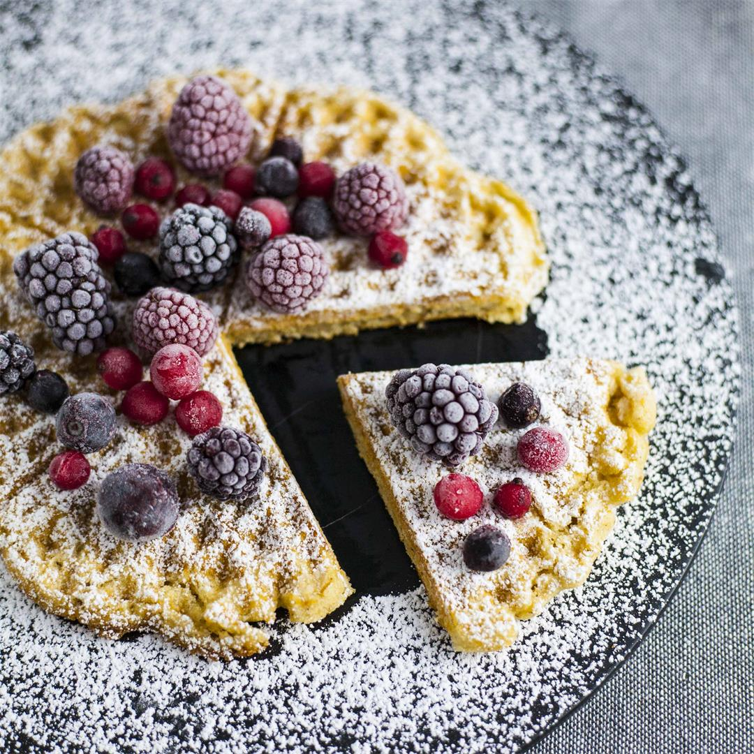 Crispy Vegan/GF Waffles with Red Lentils