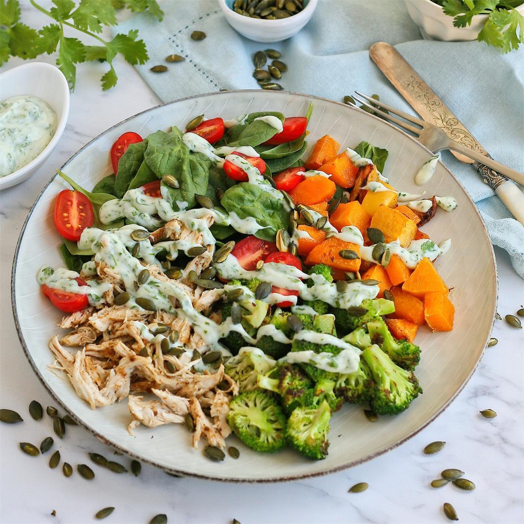 Spiced chicken salad bowl