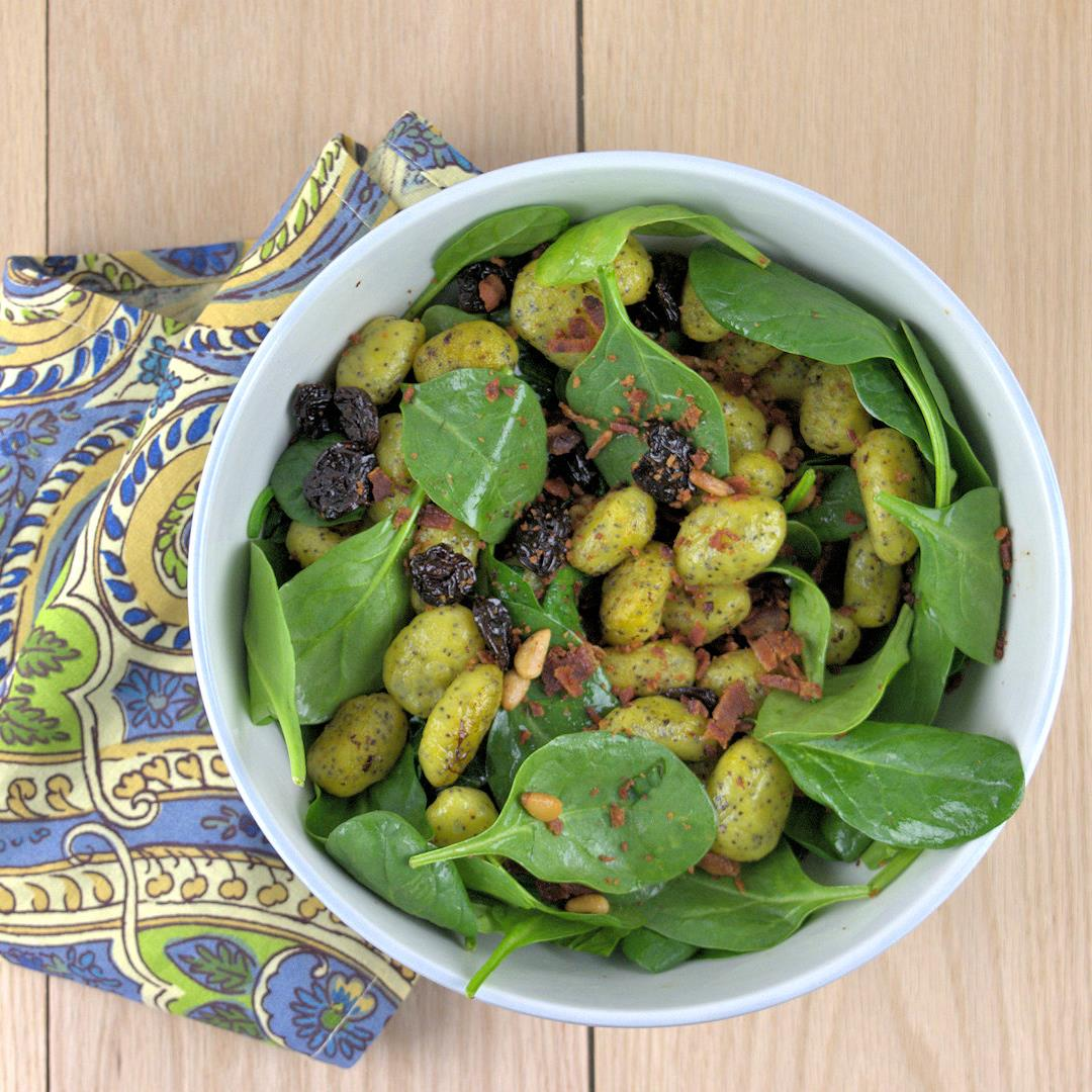 Poppy Seed Potato Gnocchi in Spinach Salad