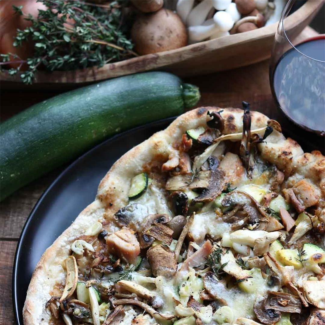 Wild Mushroom Pizza with Chicken, Caramelized Onions and Garlic