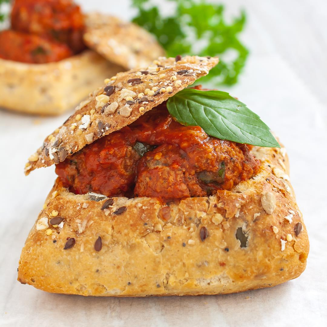 Healthy Gluten, Dairy and Egg-Free Meatballs in Bread Bowl