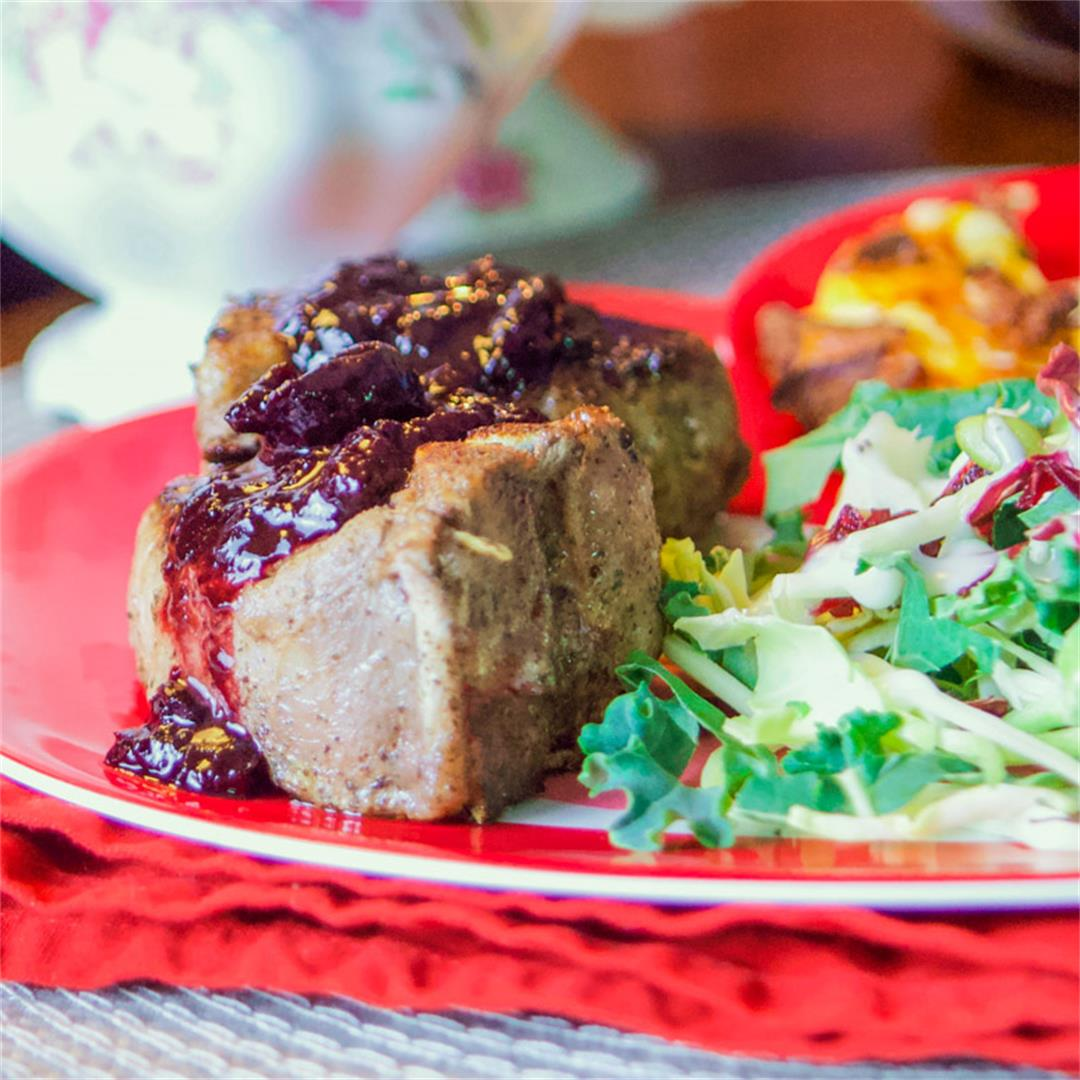 Seared Lamb Loin Chops (with cherry reduction sauce)