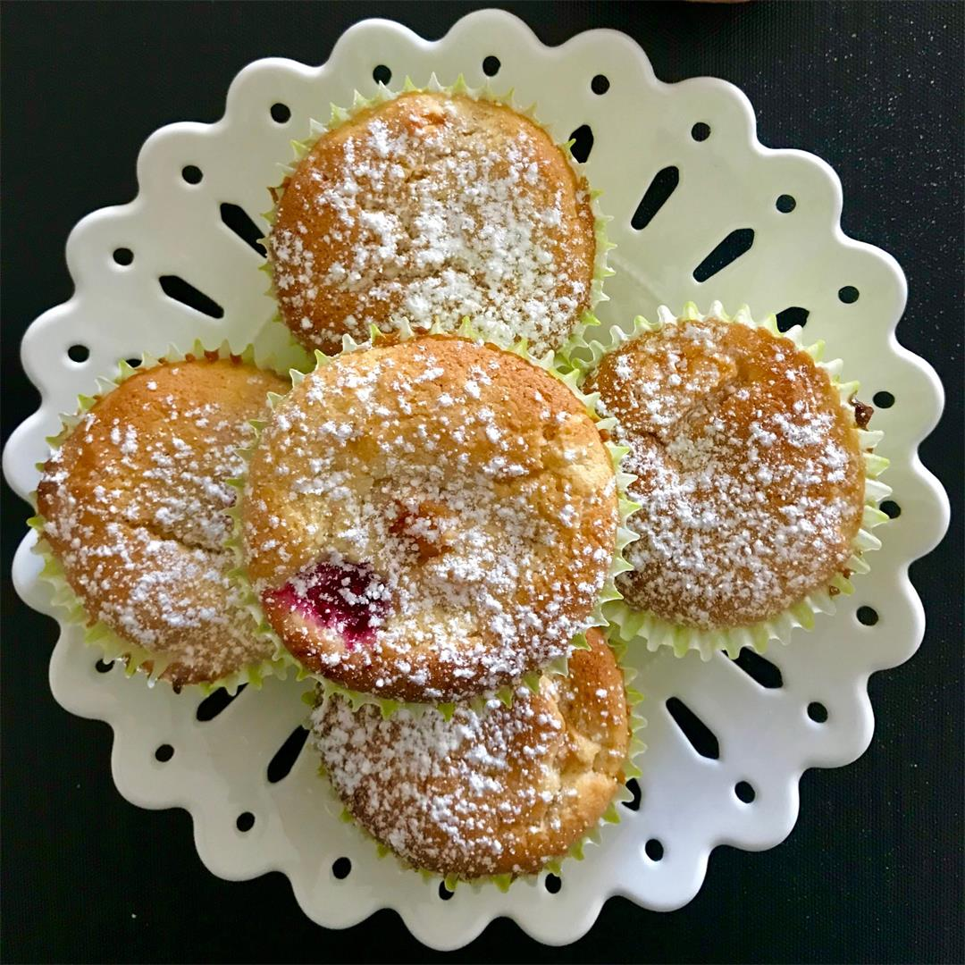 Peach, Raspberry and White Chocolate Muffins