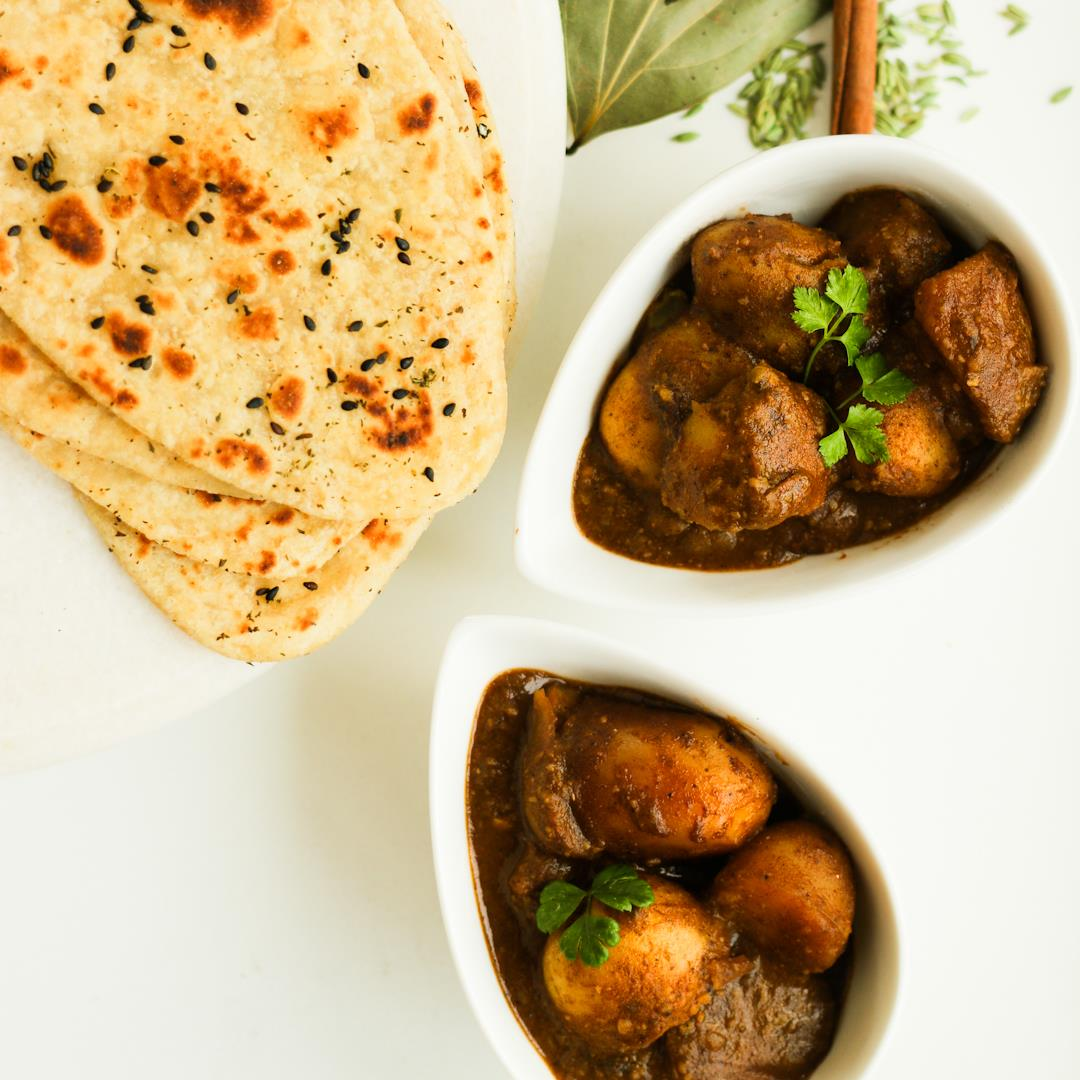 Kashmiri Dum aloo - An aromatic semi-gravy potato curry