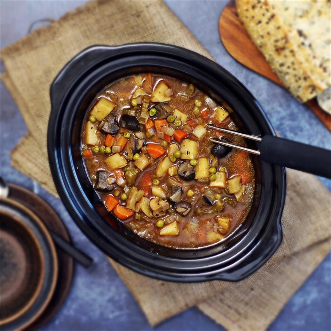 Easy Slow Cooker Vegan Stew - fat-free, tangy & delicious!