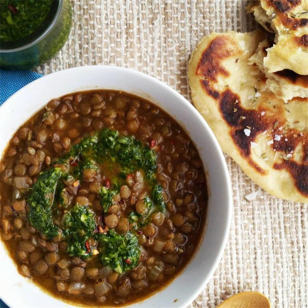 Lentil Soup with Garlicky Green Sauce