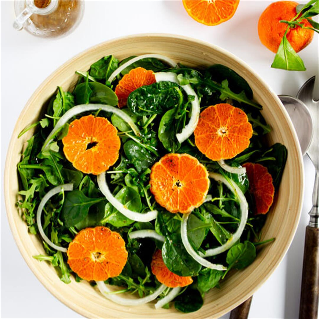 Arugula Spinach Salad with Winter Citrus