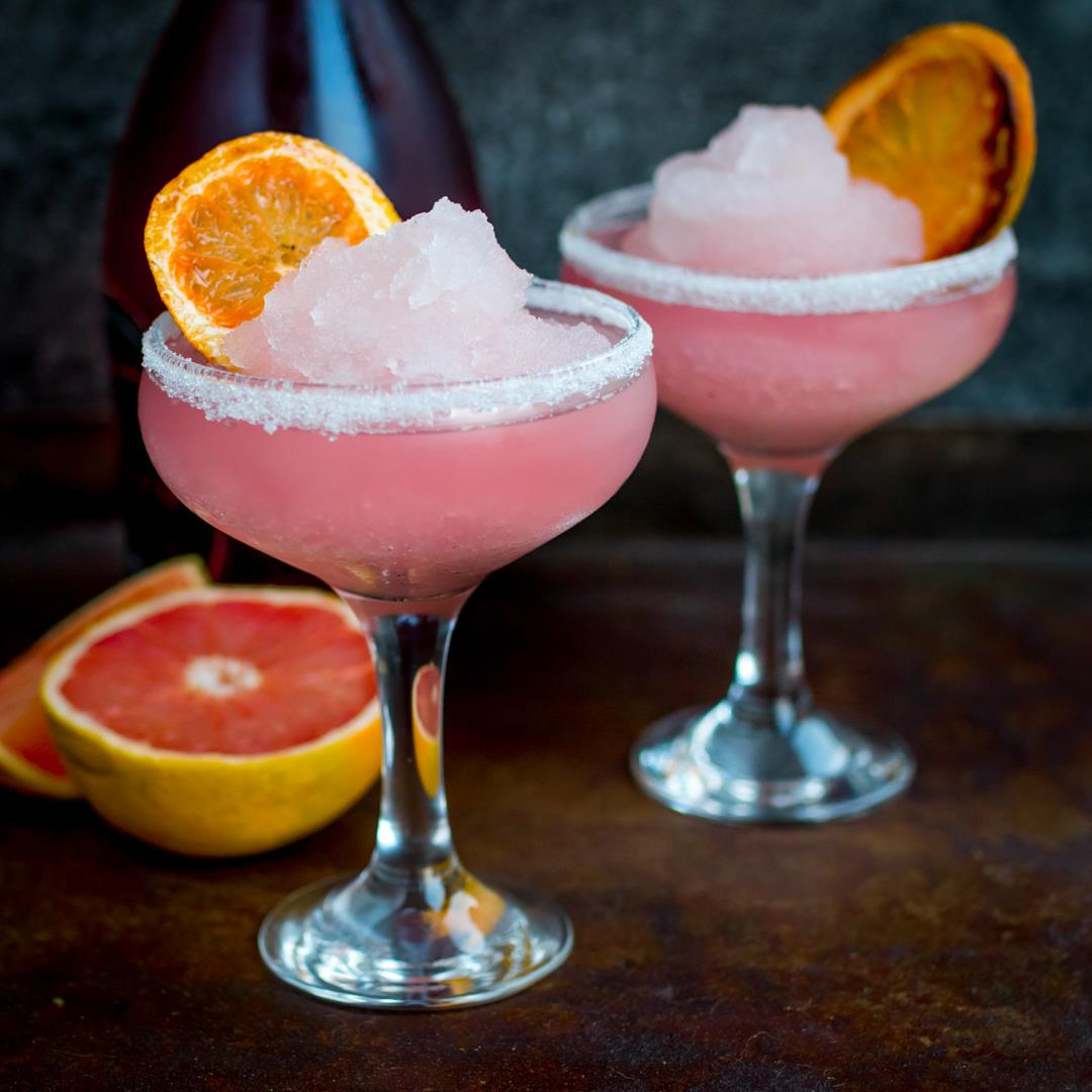 Frozen pink grapefruit prosecco cocktail