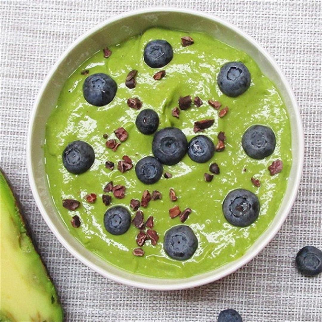 Vegan Avocado Banana Green Smoothie Bowl With Blueberries