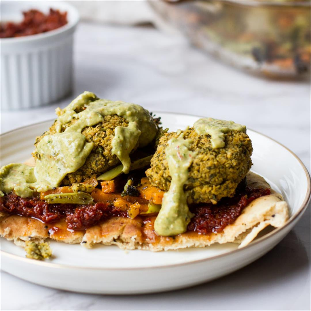 Crispy Baked Falafel with Za'atar Roasted Vegetables