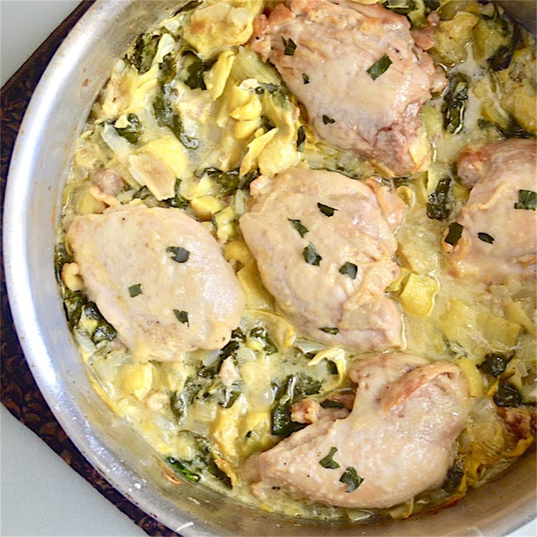 Spinach Artichoke Skillet Chicken