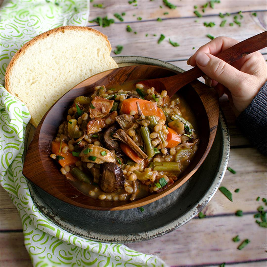 Beef and Barley Soup with Roasted Mushrooms and Bacon