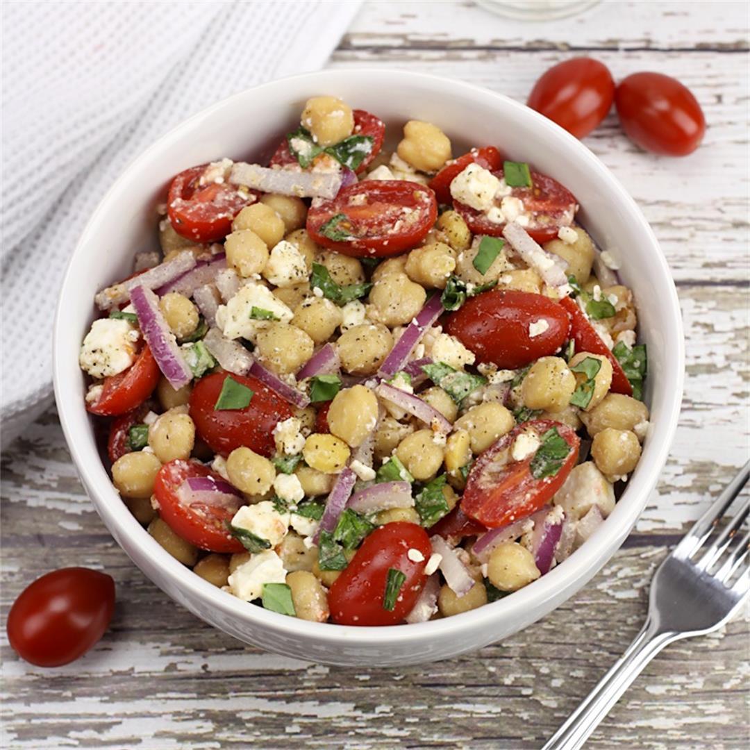 Tomato & Basil Chickpea Salad