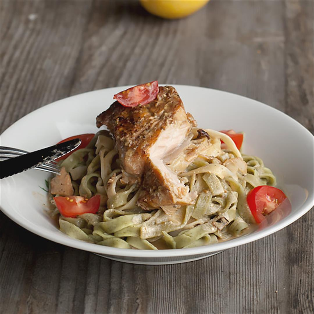 An easy and quick  pan fried Salmon and Tagliatelle Pasta