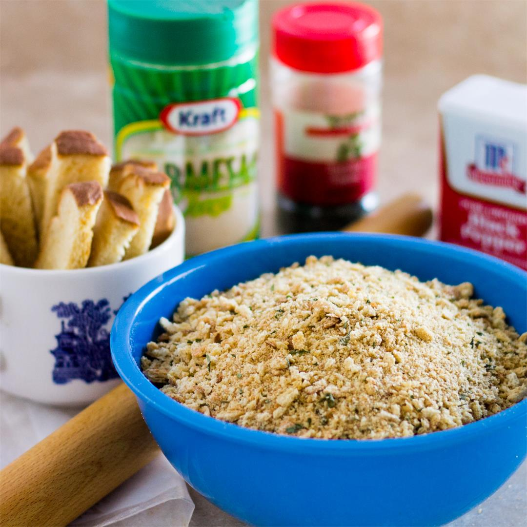 Seasoned Bread Crumbs are toasted to a golden color.