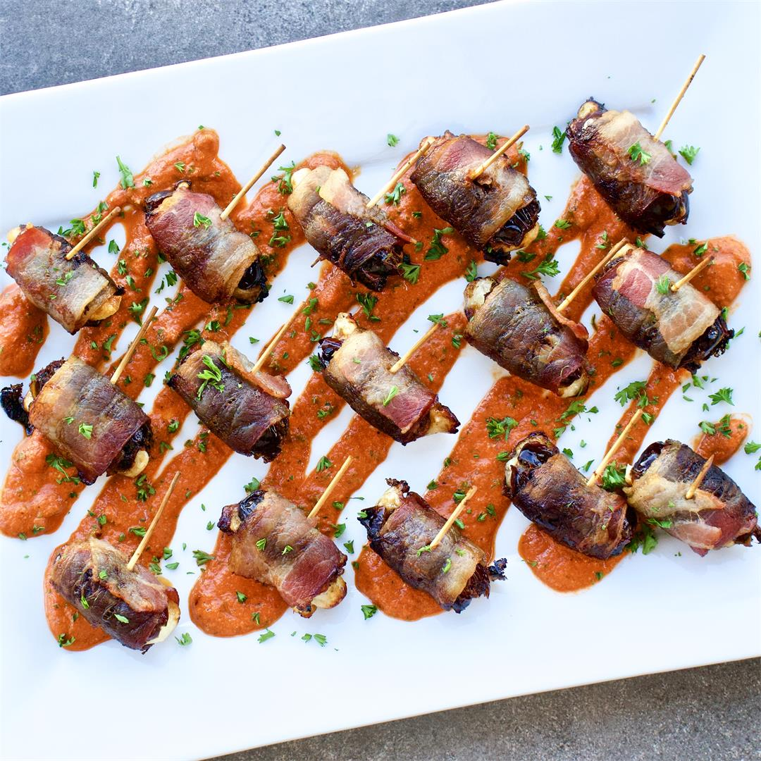 Bacon Wrapped Dates with Romesco Sauce