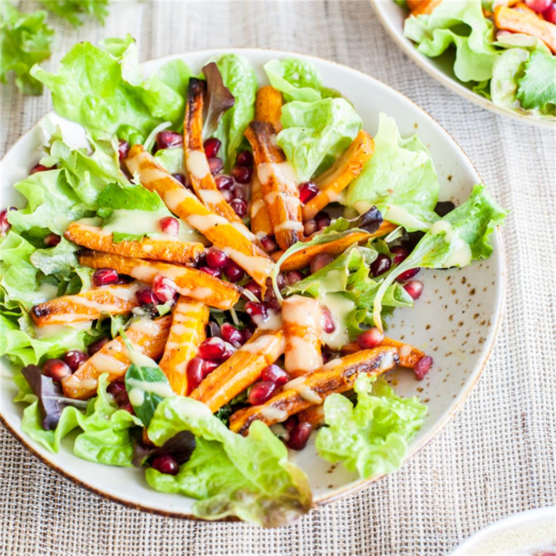 Roasted carrots and pomegranate salad with peanut dressing