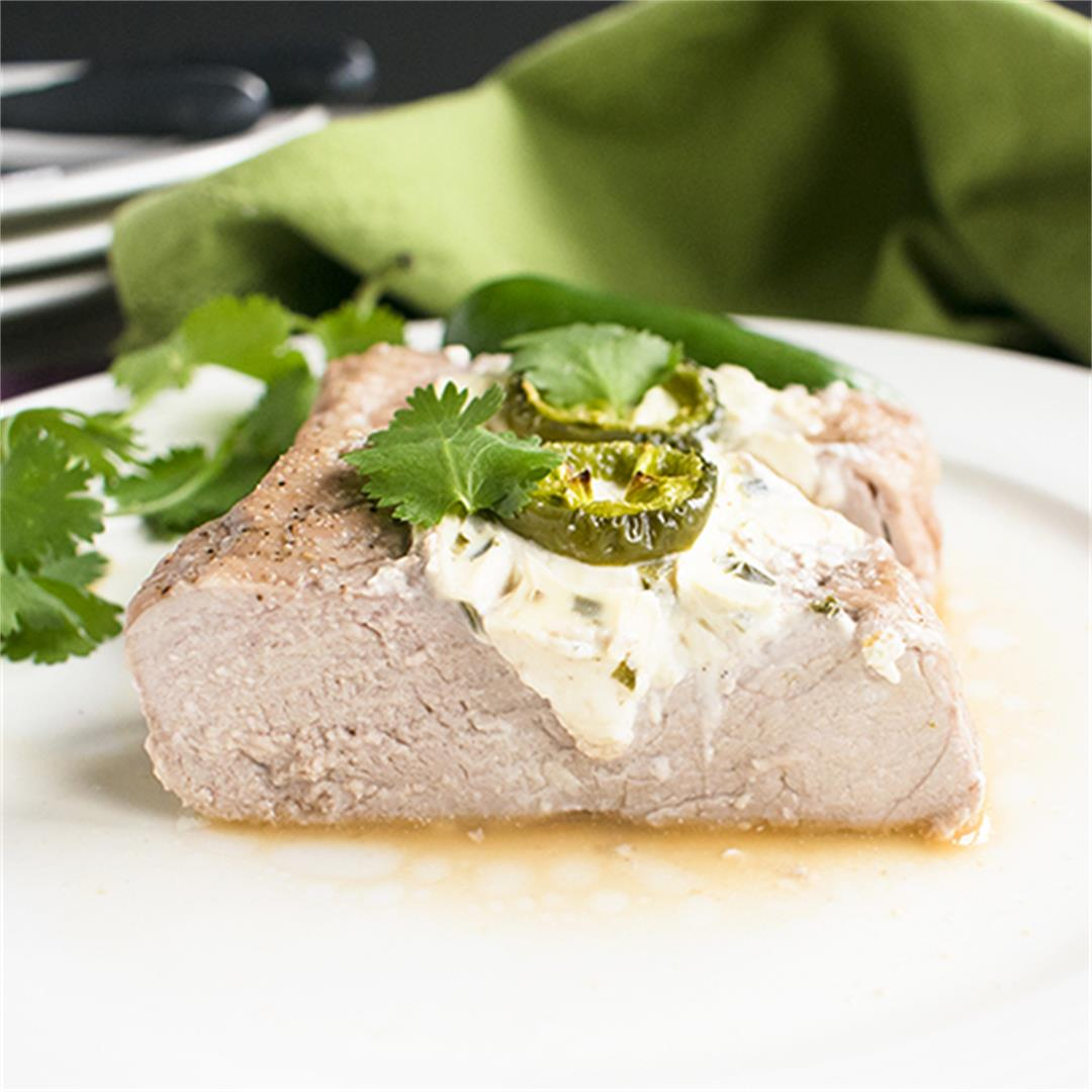 Stuffed Pork Tenderloin with Cream Cheese and Jalapeños