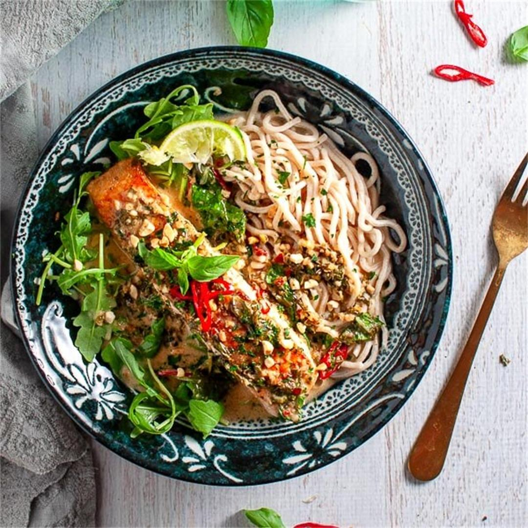 Thai Coconut Lime Salmon with Noodles
