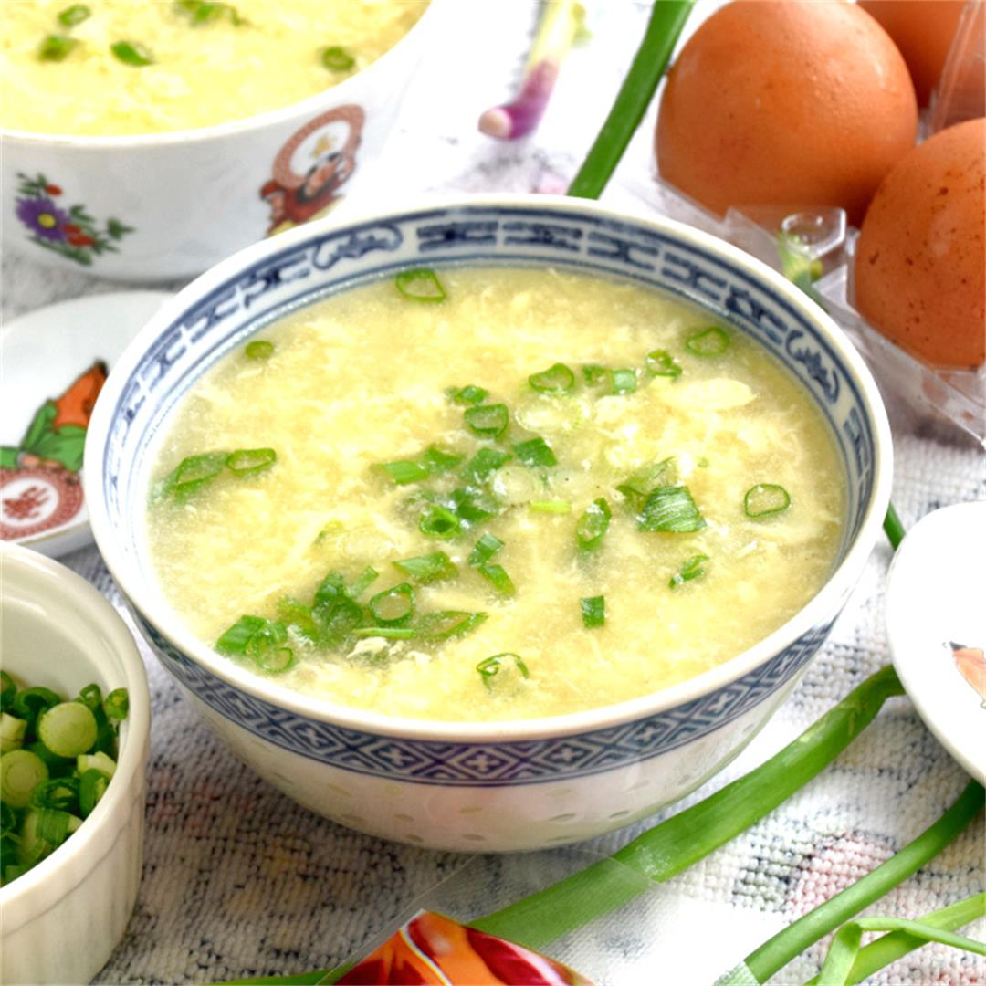 Egg drop soup recipe 蛋花汤 is the easiest Chinese soup recipe to