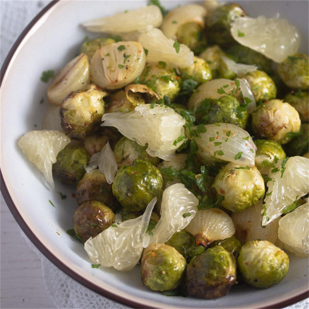 Roasted Brussels Sprouts Salad Recipe with Pomelo