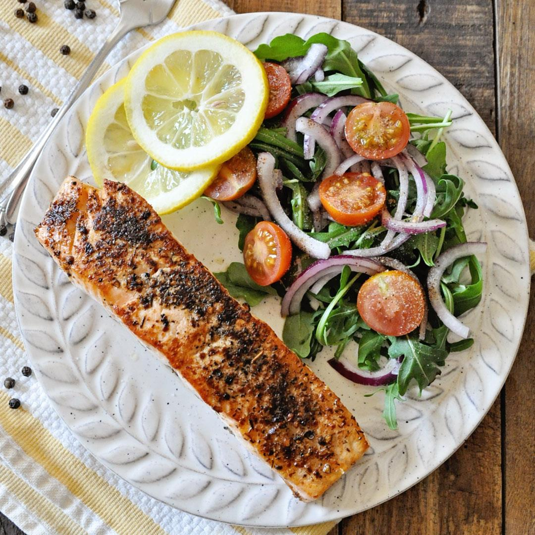 Pan Seared Lemon Pepper Salmon with Arugula Salad