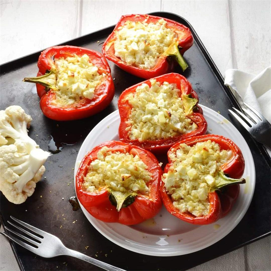 Cauliflower Rice Stuffed Peppers with Feta (Vegetarian)
