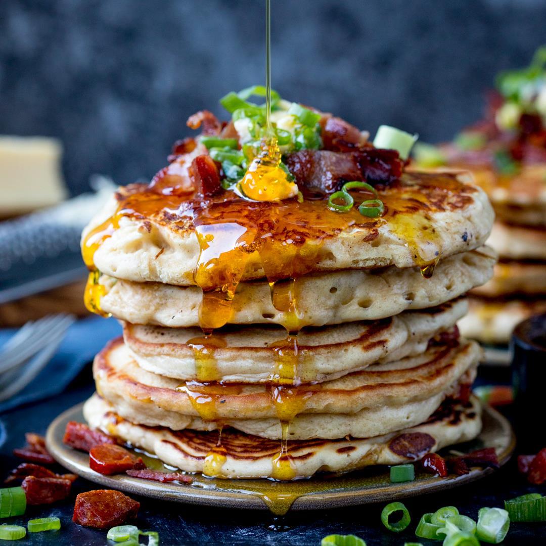 Savoury Pancakes + chorizo, bacon & chilli butter