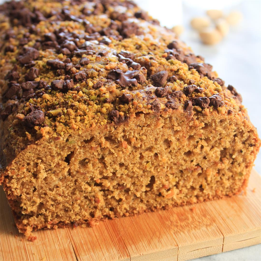 Pistachio Loaf Cake with Dark Chocolate