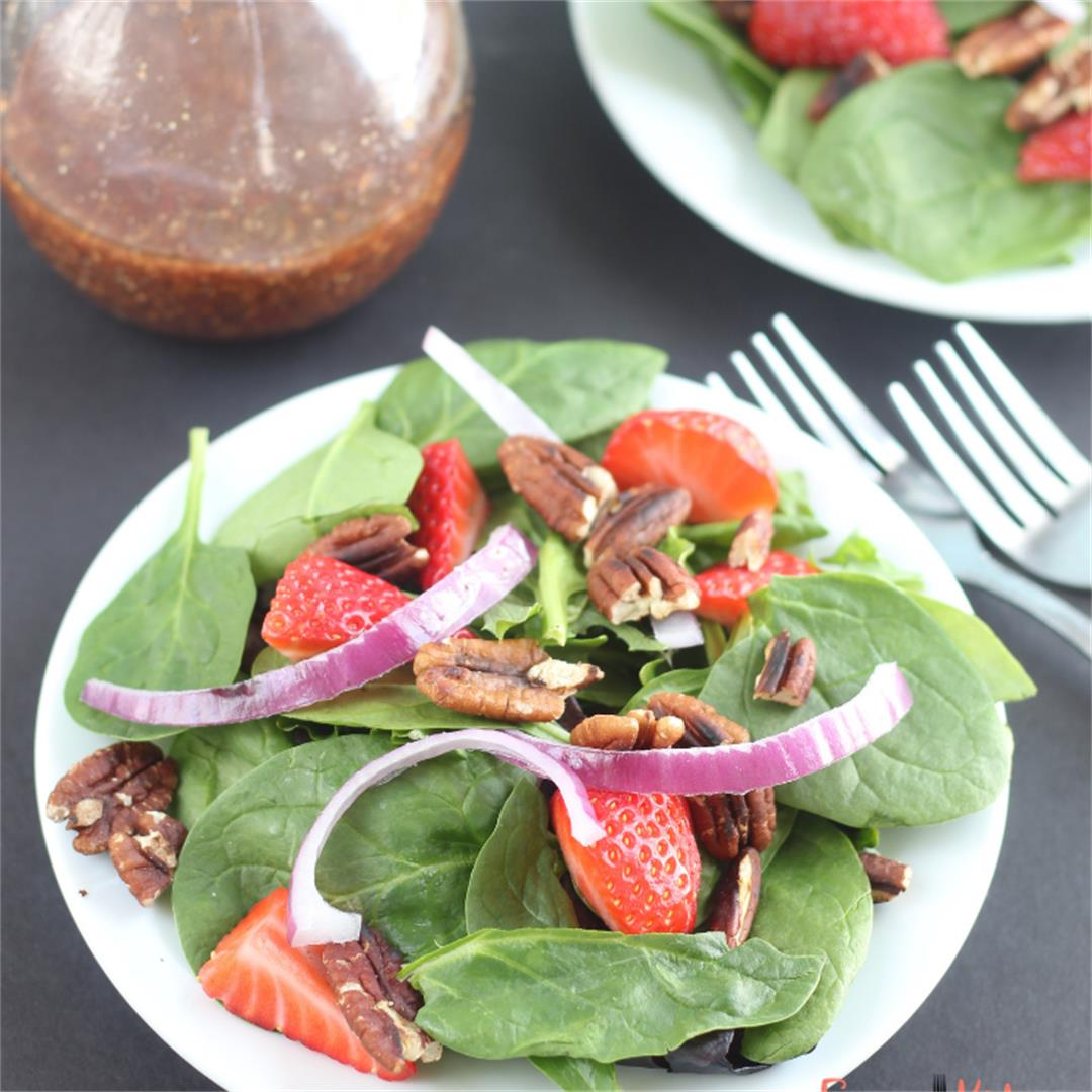 Strawberry Spinach Salad with Roasted Strawberry Vinaegrette