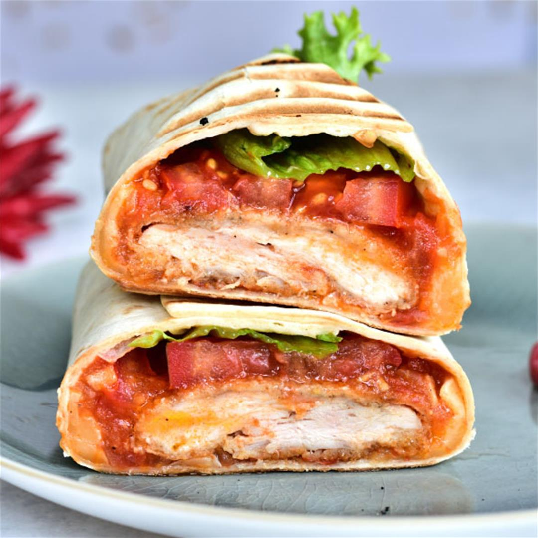 Crispy chicken wrap with spicy tomato salsa