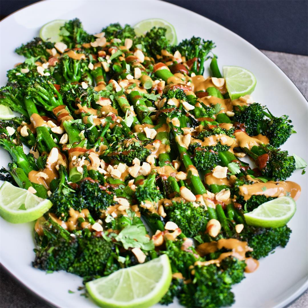 Roasted Broccolini with Spicy Peanut Sauce